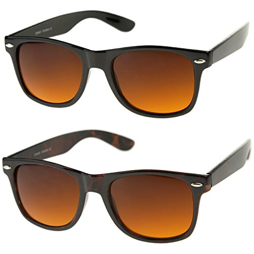 Blue Blocking Driving Wayfarers Sunglasses Amber Tinted Lens, 2 pack (With Free Microfiber ()