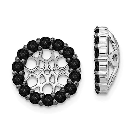 (14k White Gold Black Diamond Ear Jacket Jackets For Studs Fine Jewelry Gifts For Women For Her )