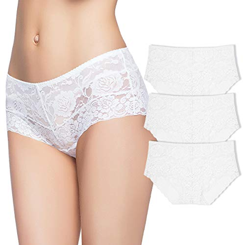 (Eve's temptation Women 3 Pack Lily Everyday Mid-Waist Panties Lace Slimming Tummy Control Underwear Full Coverage Boyshorts)