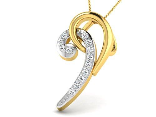 Or Jaune 14 ct Pendentifs Diamant , 0.03 Ct Diamant, GH-SI, 0.49 grammes.