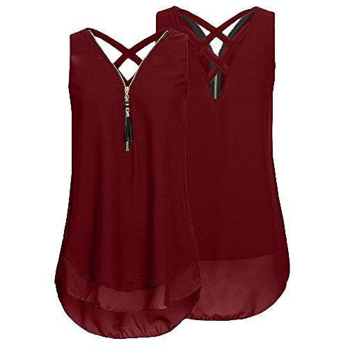 4 Colours Women Loose Plus Size Sleeveless Tank Top Cross Back Hem Layed Zipper V-Neck T Shirts Tops, S-5XL -LIM&Shop Wine