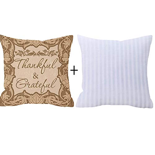 NIDITW Nice Gift Autumn Blessing Thankful And Grateful Vintage Floral Pattern Wood Texture Cotton Burlap Linen Throw Pillow Case Cushion Cover Pillowcase Sofa home decorative Square 18 Inches by NIDITW (Image #1)