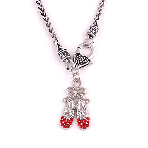 Davitu Women Necklace Ballet Shoes Wheat Link Chain Beatiful Crytal Leather Cord Factory Price Handmade Jewelry - (Metal Color: Red)