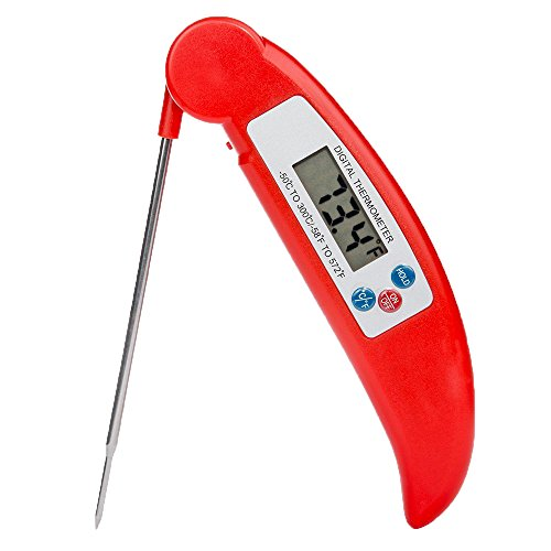 MWHW Instant Read Meat Thermometer and Timer for Grill and Cooking Super Fast Collapsible Digital Kitchen Probe and Excellent Kitchen Thermometer for BBQ Outdoor (Pocket Laser Light Show)