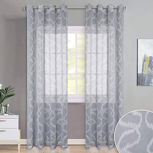 KGORGE Geometric Print Sheer Curtains - Bedroom Window Privacy Semitransparent Grommet Top Voile Sheer Drapes with Asymmetricacl Circle Bubble for Kid's Room, 84 Inch Long, Dove Grey