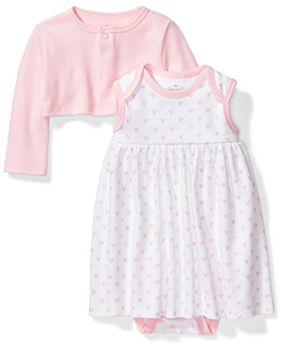 Dress Baby Back - Moon and Back Baby Girls' Organic Dress and Cardigan Set, Pink Blush, 3-6 Months