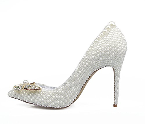 Shoes TDA Toe Pointed Evening Shiny Party Sexy Stiletto Patent Dress White Butterfly Beaded Women's Leather COqwrCp