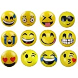 New Style Emoji Face Squeeze Balls- 12 assorted emoji face balls ~ 3'' Stress Relax Emotional Toy Balls
