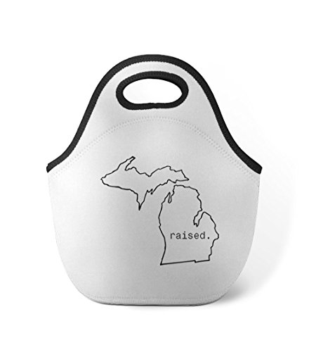 Raised Michiganite Michigan State Neoprene Insulated Lunch Box Bag (Lunch Box State)