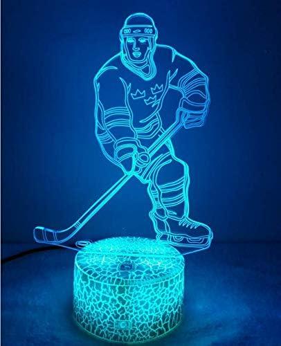 Kreative 3d Eishockey Nacht Licht Lampe Usb Power 7 Farben Amazing Optical Illusion 3d Led Lampe Formen Kinder Schlafzimmer Geburtstag Weihnachten Geschenke Amazon De Beleuchtung