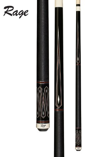Rage RG210 Graphic Midnight Black with Cocobola, White and Silver Drop Diamonds Cue, 19-Ounce