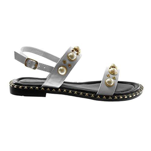 Angkorly Damen Schuhe Sandalen - Knöchelriemen - Nieten - Besetzt - Perle - Schleife Blockabsatz 1.5 cm Weiß