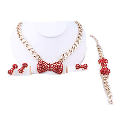 OUHE Gold Plated Bow-Knot Pendant Golden Necklace Earrings Bracelet Ring Jewelry Set