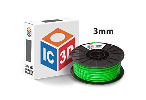 IC3D Green 3mm ABS 3D Printer Filament - 1kg Spool - Dimensional Accuracy +/- 0.05mm - Professional Grade 3D Printing Filament - MADE IN USA