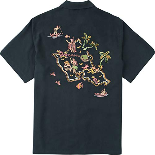 Tori Richard Island Kitsch Embroidered Camp Shirt - Black from Tori Richard