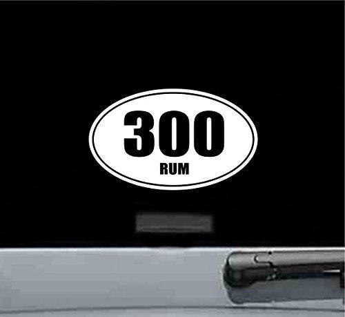 JS Artworks 300 Rum Oval Vinyl Decal Sticker Ammo Bullet Gun Rifle Pistol