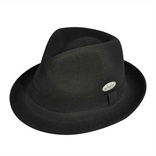 Kangol Fedora Hats (Kangol Men's LiteFelt Hiro Trilby, Stylish Medium Brim Fedora, Black (Large))