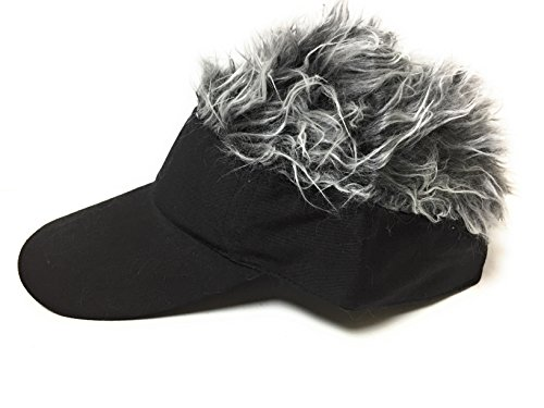 Flair Hair Men's Black Visor and Hair, Grey, One Size (Hats With Hair Attached)