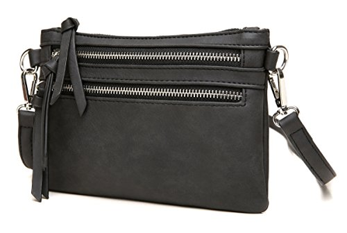 Multi Wristlet Aitbags Purse Zipper Clutch Functional Handbag Pocket Lightweight Black Crossbody PwOzFAdwBq