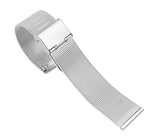 10 Watch Mm Band (10mm Ladies' Silver Chain Mesh Watch Straps Metallic Milanese Belt Replacements for Classic Or Smart Watch)