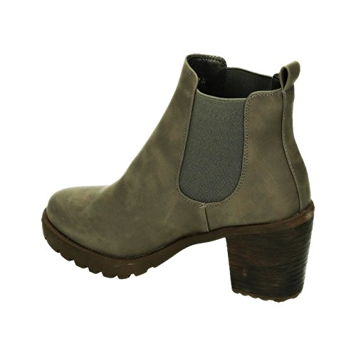 King Of Shoes Damen Stiefeletten Ankle Boots Plateau Stiefel Schuhe 74 Grau 059