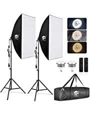 SH Softbox Lighting Kit Studio Lights LED Photography Lighting Equipment with 2 Remote Dimming 6000K Bulbs for Photography,Vlogging, Podcast,Video, Live Stream etc.