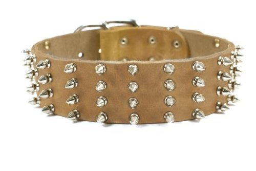 Dean and Tyler  4 ROW SPIKES , Extra Wide Dog Collar with Nickel Spikes and Studs Tan Size 91cm by 6cm Fits Neck 86cmes to 97cmes.