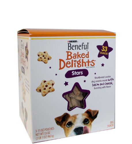 Beneful Baked Delights Dog Snacks Stars 33 Ounces Shortbread cookies with bacon and cheese bursting with flavor, My Pet Supplies