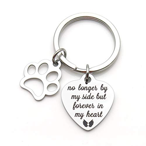 Pet Memorial Gift No Longer by My Side But Forever in My Heart Stainless Steel Paw Prints Keychain Pet Sympathy Gift ()