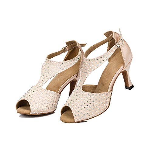 M Wedding 4 Crystals Women's Shoes Sparking Shoes US Beige Evening Satin Dance Miyoopark Modern B7RqYw