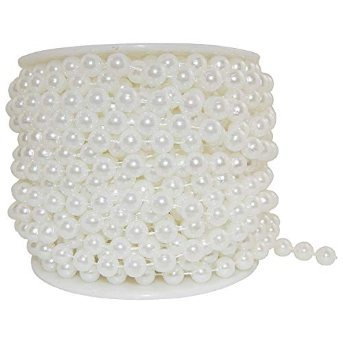 Deco Collection Large Pearls Faux Crystal Beads by The Roll, 10mm, 22 Yards (Ivory) ()