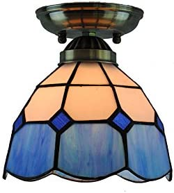 Cheerhuzz 7 Vintage Tiffany Style Ceiling Light Modern Blue White Retro Stained Glass Flush Mount Lamp Balcony Hallway Lighting Fixture CL252