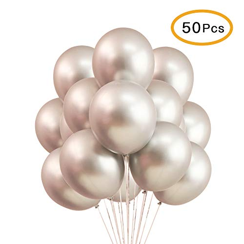Silver Metallic Chrome Balloons - 12 Inches Shiny Latex for Party Decoration Birthday Wedding Baby Shower Graduation Christmas Halloween - 50 Pcs