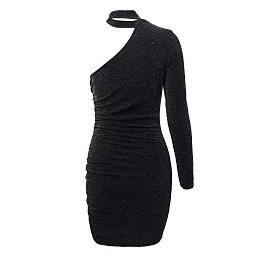 Muranba Womens One Shoulder Dress Sleeveless Black Bandage