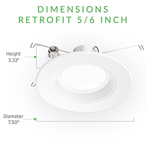 Sunco Lighting 12 Pack 5/6 Inch Baffle Recessed Retrofit Kit Dimmable LED Light, 13W (75W Replacement), 3000K Kelvin Warm White, Quick/Easy Can Install, 960 Lumen, Damp Rated by Sunco Lighting (Image #9)