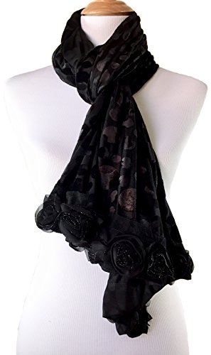 Beautiful Bohemian Floral Vintage Inspired Burnout Long Scarf Shawl Wrap (Velvet Silk - Black - Black Scarf Velvet