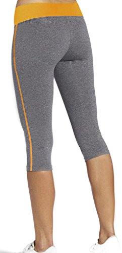 iLoveSIA Women's Tight Capri Workout 3/4 Legging US Size XL Grey+Gold