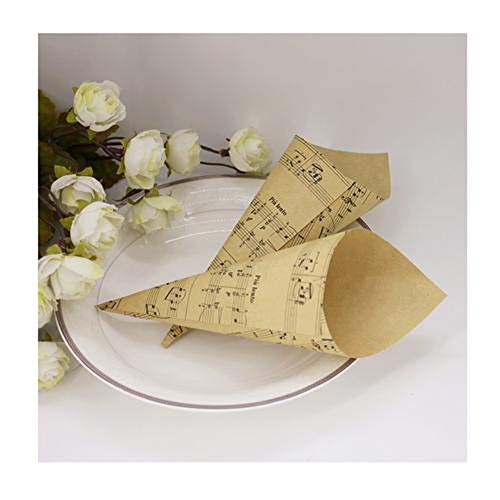 50PCS Retro Musical Note Pattern Folding Kraft Paper Cones Bouquet Candy Chocolate Bags Boxes Wedding Party Gifts Packing with Hemp Ropes Label Stickers Tape -