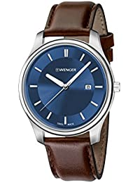 Men's 'City Classic' Swiss Quartz Stainless Steel and Leather Casual Watch, Color:Brown (Model: 01.1441.116)