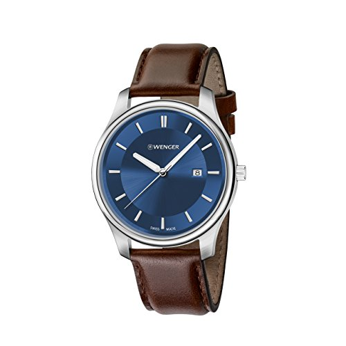 Wenger-Mens-City-Classic-Swiss-Quartz-Stainless-Steel-and-Leather-Casual-Watch-ColorBrown-Model-011441116