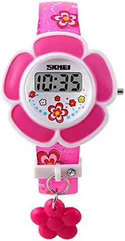 Gosasa Kids Pink Digital Watch Girls cartoon watches, Flowers Resin Band