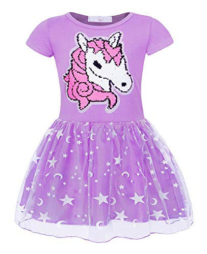 Cotrio Unicorn Tutu Dress Girls Short Sleeve Sequins Princess Dresses Kids Rainbow Stars Shirt Skirts Themed Birthday Party Clothes Size 4T (3-4Years, Purple) -