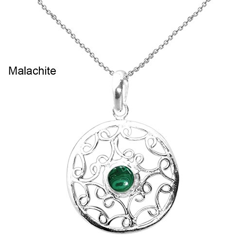 0.85ctw,Genuine Malachite & 925 Silver Plated Pendant