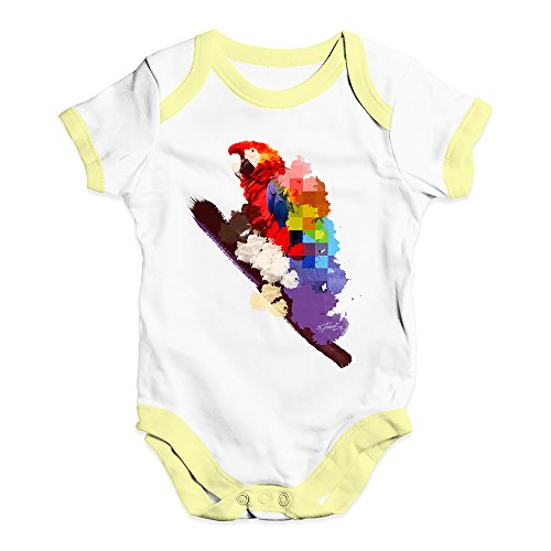 TWISTED ENVY Baby Boy Clothes Watercolour Pixel Rainbow McCaw Parrot Baby Unisex Baby Grow Bodysuit 6-12 Months White Yellow Trim