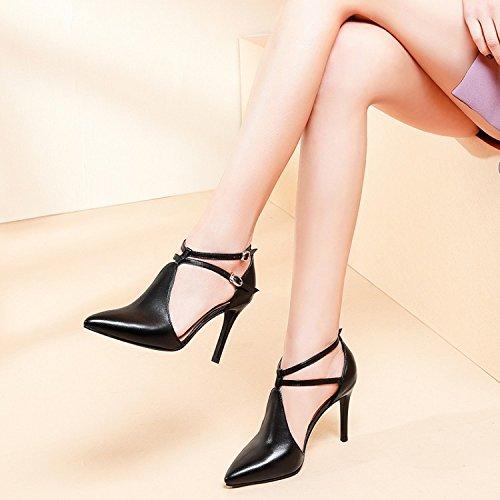 Jqdyl High Heels Damen Einzel Schuhe High Heels Spitz Schuhe  37|Black