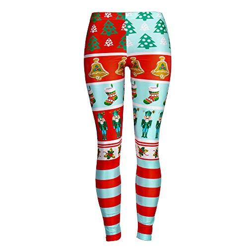 Lápiz Pantalones Copo Campanas Zarup Aprieta Alta Navidad Cintura Nieve el Los De Del Estampado Rojo xRYwPqSY