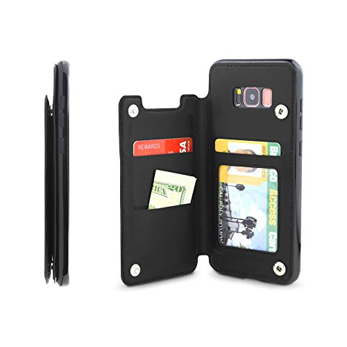 Gear Beast Lychee PU Leather Protective Top View Slim Wallet Case Fits Galaxy S8 Includes Flip Folio Cover, with Three Card Slots Including Transparent ID Holder