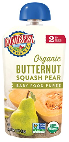 Earths Best Pear (Earth's Best Organic Stage 2, Butternut Squash & Pear, 4.0 Ounce Pouch (Pack of 12) (Packaging May Vary))