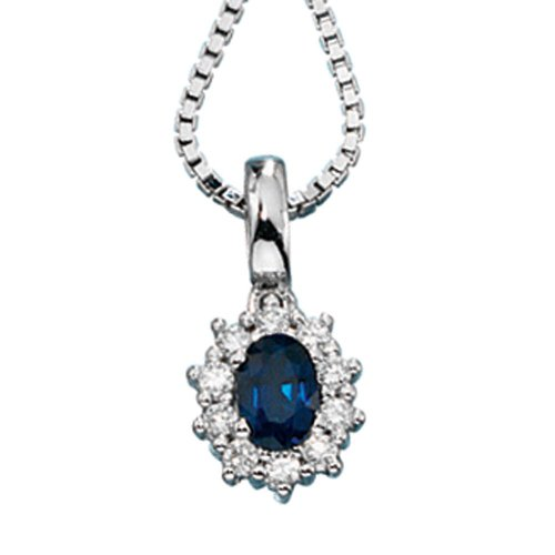 Bijoux pendant des bijoux or blanc des femmes avec saphir et diamants env hauteur de 10,3 mm, une largeur d'environ 8,6 mm