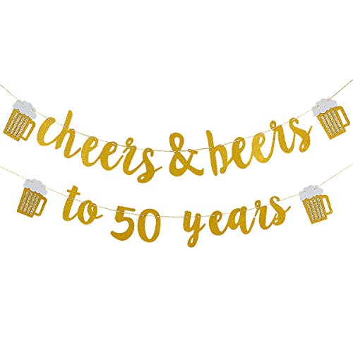 Cheers & Beers to 50 Years Gold Glitter Banner- 50th Birthday Wedding Aniversary Party Supplies Decorations -